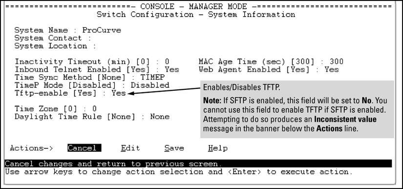 Operating rules are: The TFTP feature is enabled by default, and can be enabled or disabled through the CLI, the Menu interface (see Figure 40: Using the Menu interface to disable TFTP on page 267),