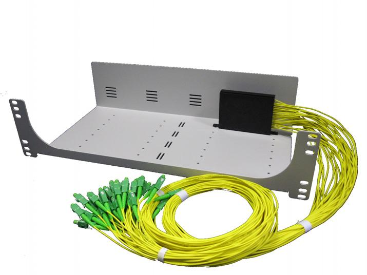 The splitter outputs are connectorised for direct connection to the network cable patch panels.