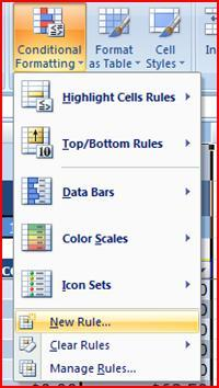 APPLY CONDITIONAL FORMATTING WITH A RULE Select cell range