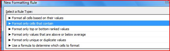 CONDITIONAL FORMATTING WITH A RULE cont.