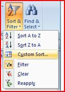 SORT BY MULTIPLE FIELDS HOME tab >