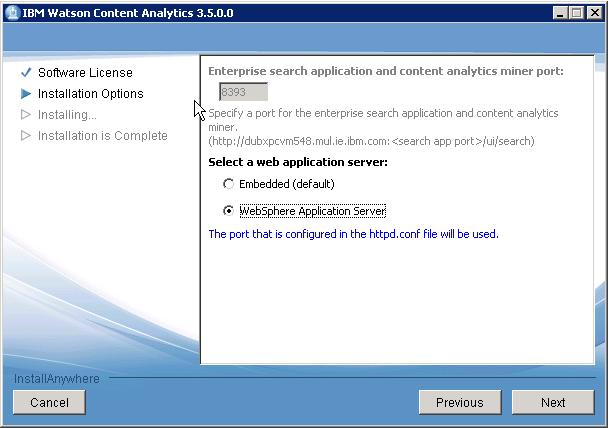 6. Continue with the wizard to specify settings for Websphere Application Server.