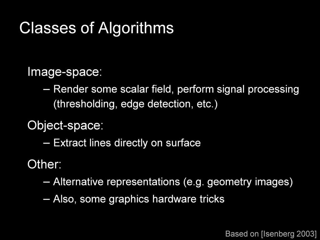 There are two major classes of algorithms for extracting most kinds of lines from 3D meshes.