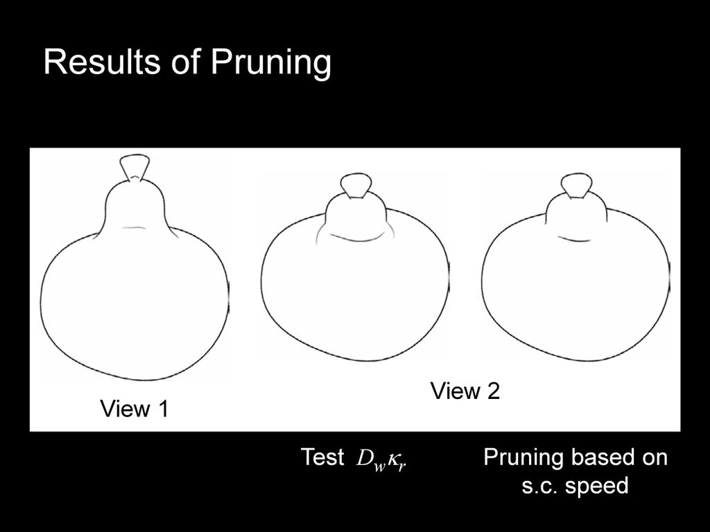 Here are a couple of examples of pruning according to the formula for the speed (right), or according