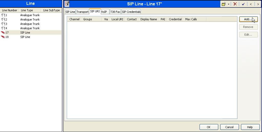 5.6. Configure SIP URI Parameters for the SIP Line Select the SIP URI tab to configure SIP URI parameters for the SIP Line. Click on the Add button.