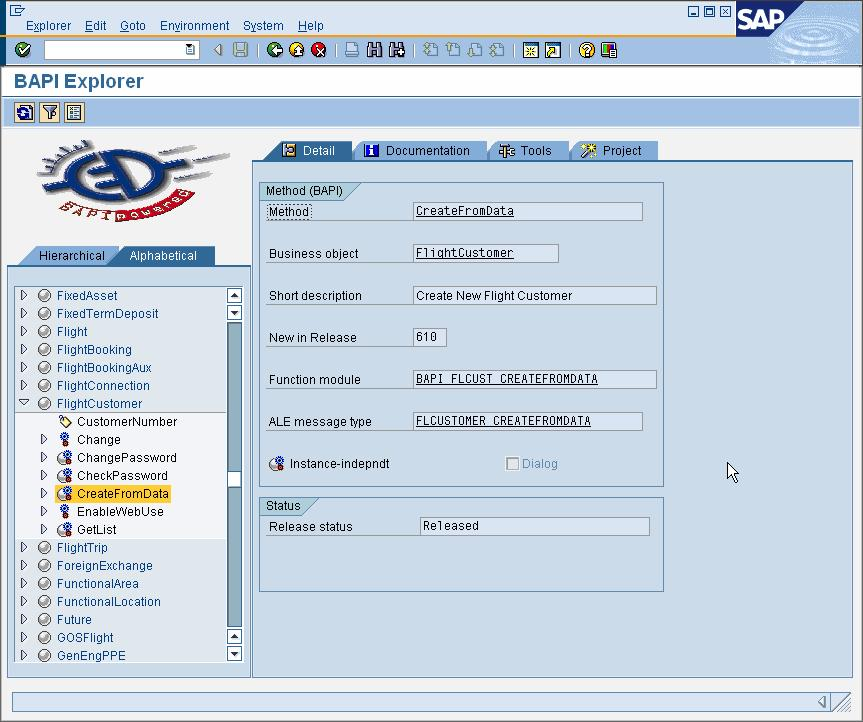 Figure 2 Create Flight Customer BAPI in transaction BAPI Architecture SAP Web AS 6.20 added the capability to exchange IDocs with external Systems over HTTP.