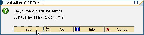 Figure 8 Confirm activation of service IDoc_XML After activating the service you can post IDocs in XML format to the URL http://[name of your machine]:[port Number]/sap/bc/idoc_xml, an example is