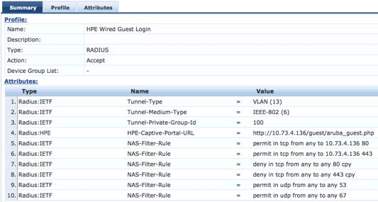 9. Add all of the NAS-Filter-Rule attributes specified below, replacing the IP address in the first two NAS-Filter-Rule attributes with your CPPM address.