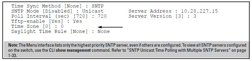 Figure 2: Time configuration fields for SNTP with broadcast mode Option 2 d. Use the Space bar to select the Unicast mode. e. Move the cursor to the Server Address field. f. Enter the IP address of the SNTP server you want the switch to use for time synchronization.