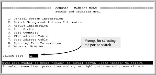 Proceeding from Figure 41 (page 279), press [S] (for Search), to display the following prompt: Enter MAC address: _ 2. Enter the MAC address you want to locate and press [Enter].