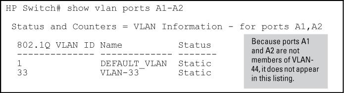 Example 110: List data on specific VLANs The next three figures show how you can list data for the following VLANs: Ports VLAN VID A1-A12 A1, A2 A3, A4 DEFAULT_VLAN VLAN-33 VLAN-44 1 33 44 Figure 45: