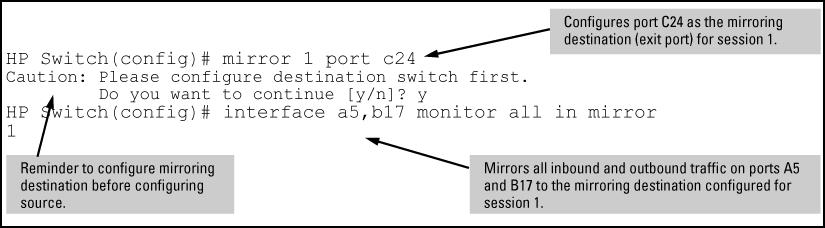 "Mirroring configuration examples Example 111: Local mirroring using traffic-direction criteria An administrator wants to mirror the inbound traffic from workstation ""X"" on port A5 and workstation ""Y"""
