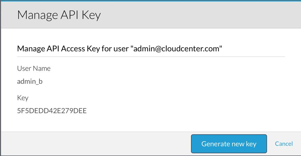 API Credentials (continued) This is the Username and Key you will use for REST