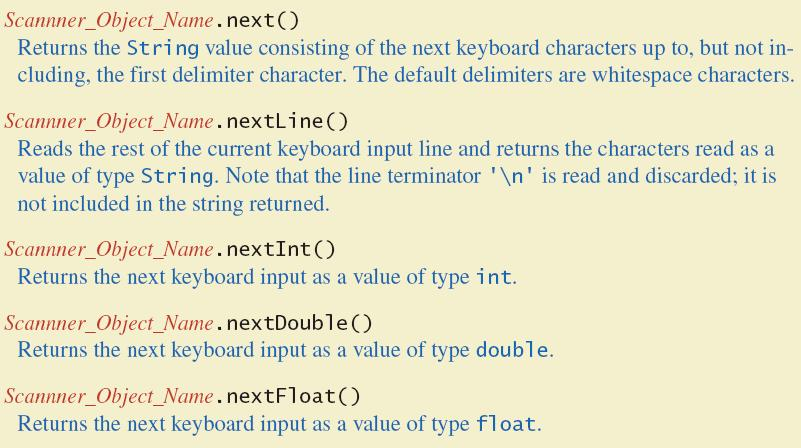 in) Read data (an int or a double, for example) int n1 = keyboard.nextint(); double d1 = keyboard.