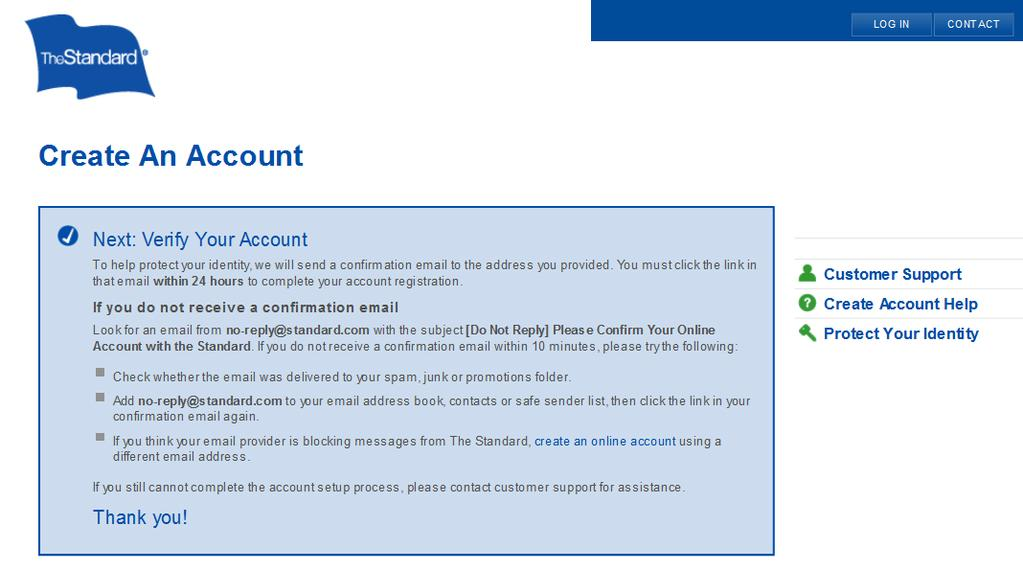 Once yu click CREATE ACCOUNT, yu will receive a verificatin email.