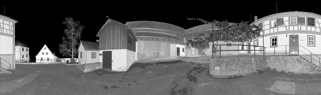 Figure 1. Panoramic image of the test area showing the amount of reflected light as grayvalues.