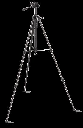 Surveyor s Tripod Sturdy light metal design Ground spikes Connecting thread 5/8 inch Min. length 105 cm, max. length 160 cm Weight 5860 g Order no.