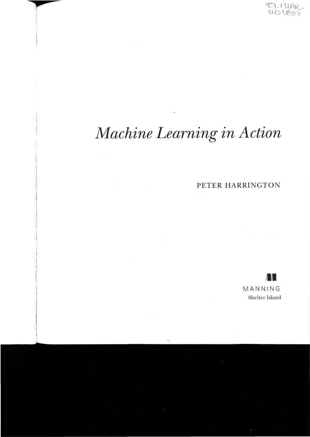 Machine Learning in Action PETER