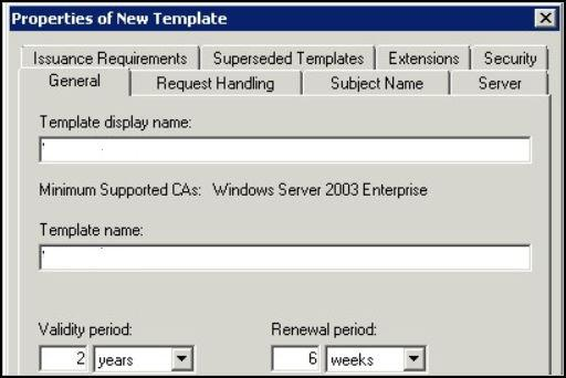 Chapter 3 Implementing Mobile Single Sign-in Authentication for AirWatch-Managed ios Devices Figure 3 1. Active Directory Certificate Services Properties of New Template Dialog Box General tab.