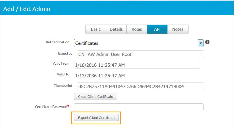 Chapter 1 Integrating AirWatch With VMware Identity Manager 3 In the Basic tab, enter the certificate admin user name and password in the required text boxes.