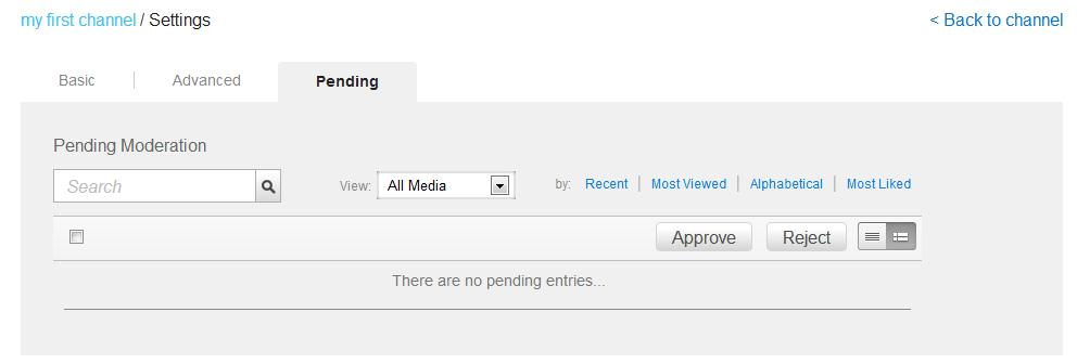 Creating and Managing a Channel On the Pending tab, click a media thumbnail t review pending cntent. The media page pens.