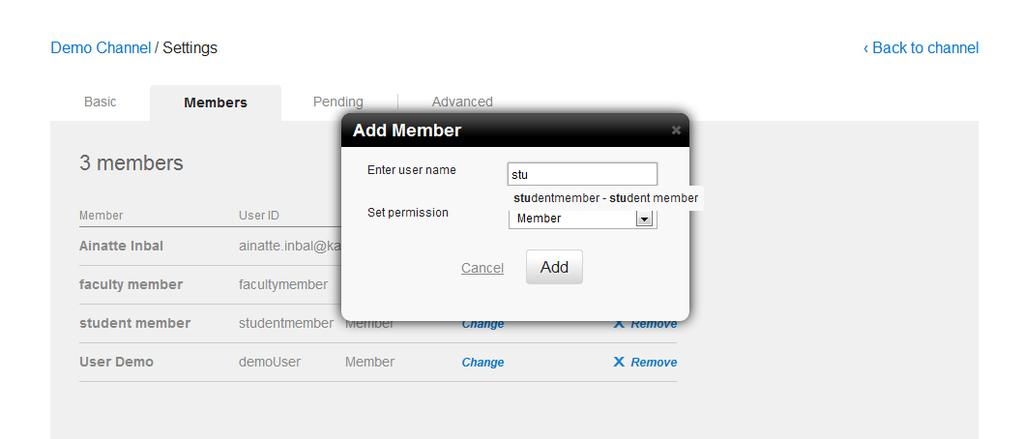 Creating and Managing a Channel In the Add Member windw under Enter user name, start typing a user name t display user names, and select a member t add. 4. 5.