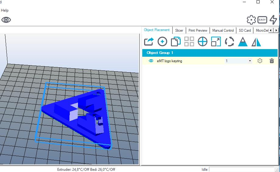 APPENDIX / 35 Printing a 3D model 2 ) Import this 3D model into Repetier-Host : in the tab «Object placement», click on the button «Add object» select the downloaded file and open it with