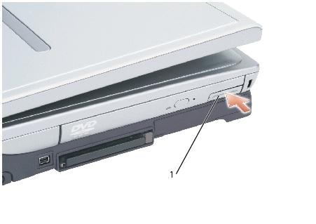 Memory Module, Mini PCI Card, and Devices: Dell Inspiron XPS and Inspiron 9100 Service Manual 1 device latch release 3.
