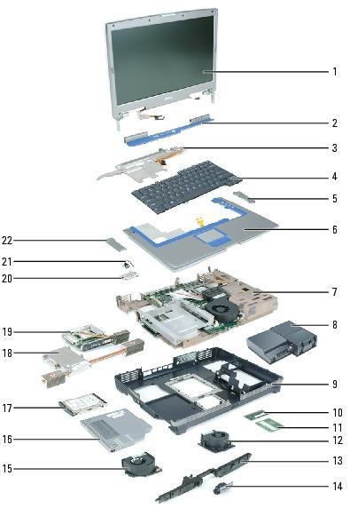 System Components: Dell Inspiron XPS and Inspiron 9100 Service Manual 1 display assembly 12 fan 3 2 center hinge cover 13 speakers 3 keyboard bracket 14 display release latch 4 keyboard 15 fan 2 5