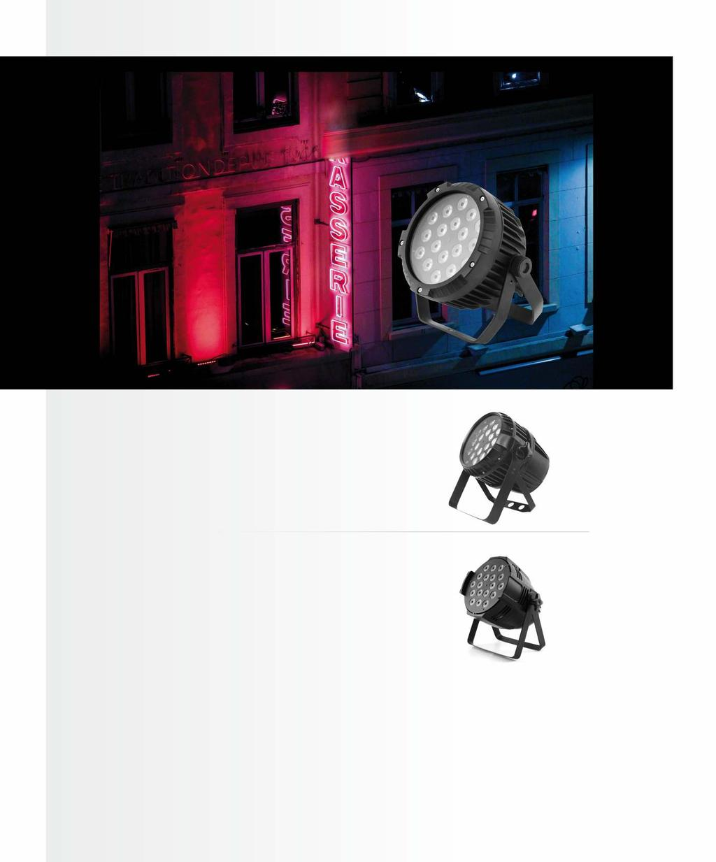 LED PAR 64 IP65 ver.ii 18x10W RGBW 4in1 [F7100310] Designed for outdoor use, for example to illuminate the facades of buildings. It can display sta c colors or change the colors in automa c mode.