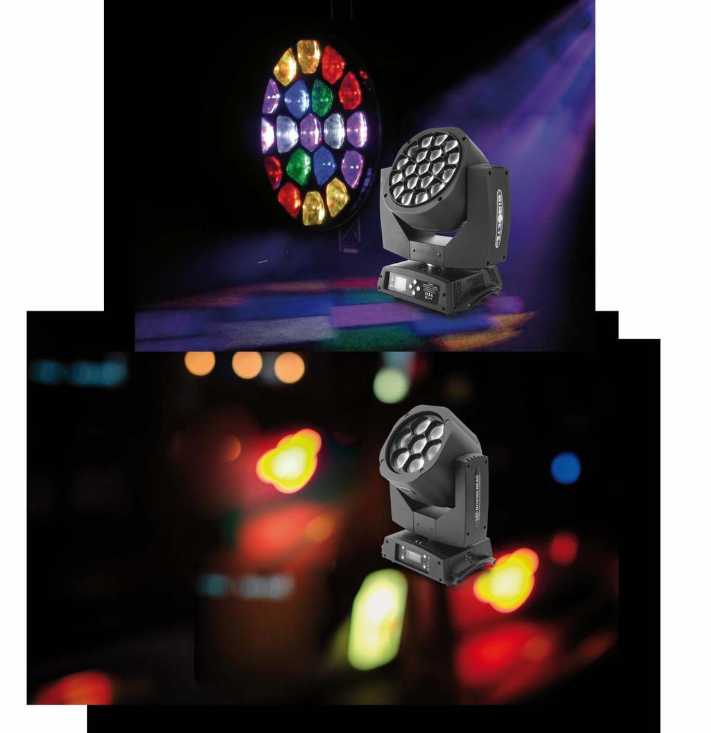 Kaleidoscope 19x15W v2 LED Moving Head RGBW 4in1 OSRAM [F7100078] Power consump on: 300W Power supply voltage: 90-240V Voltage frequency: 50/60Hz LED: 19x15W, 4in1 Color: RGBW Beam angle: 4-60