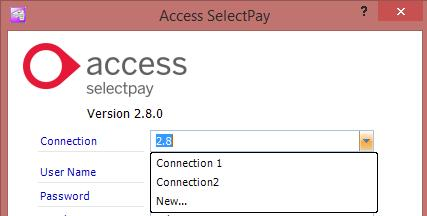 SelectPay Installatin Instructins Yu can nw assign a name fr yur cnnectin and enter the user details and database name f the file yu wish t cnnect t, then lg in.