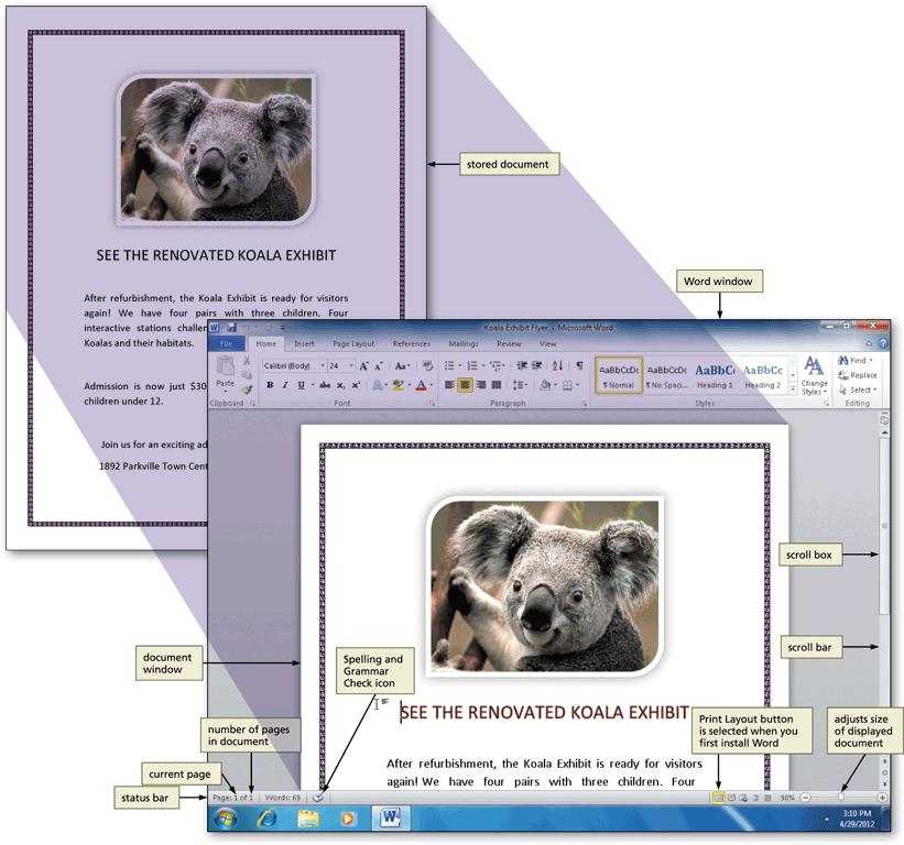 The Word Document Window, Ribbon, and Elements Common to Office