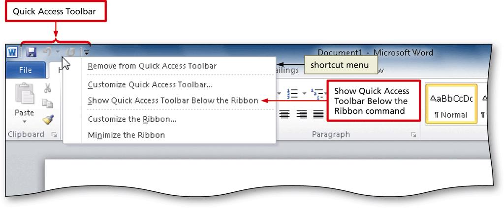 Displaying and Using a Shortcut Menu Office