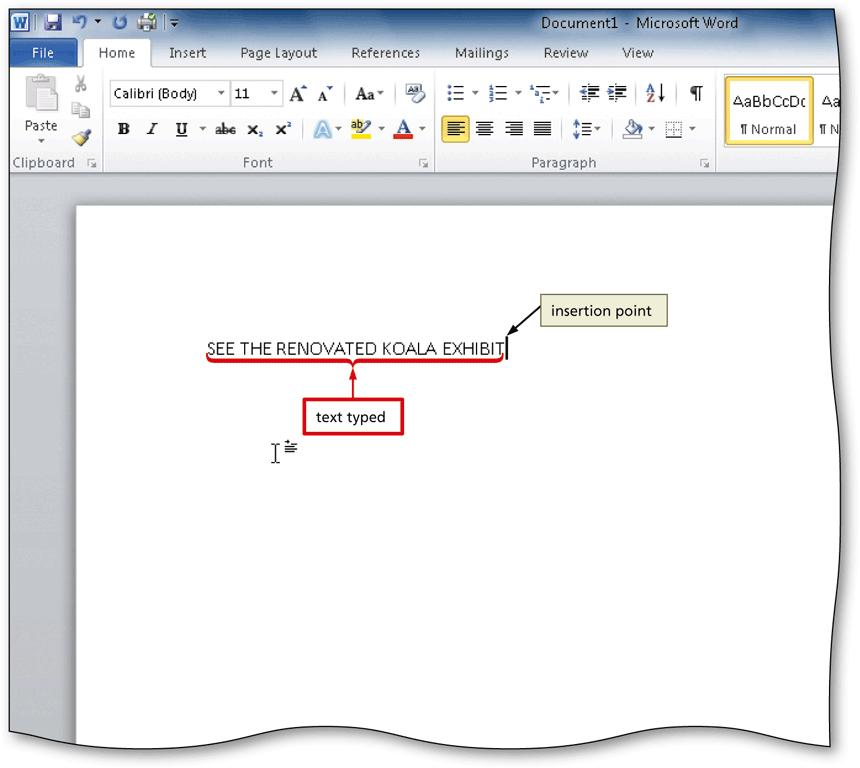 Entering Text in a Document With a blank document open in Microsoft Word, type the text you wish to add Press the ENTER