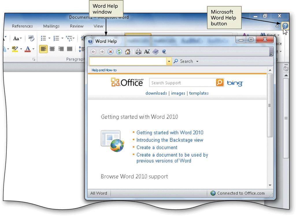 Opening the Help Window in an Office Program Click the Office program s Help button near the corner of the