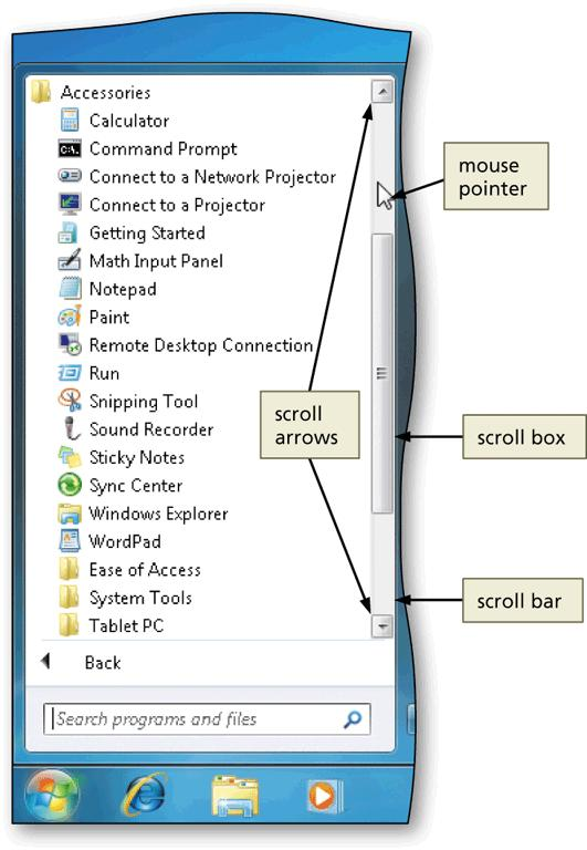 Scrolling A scroll bar is a horizontal or vertical bar that appears when the contents of an area