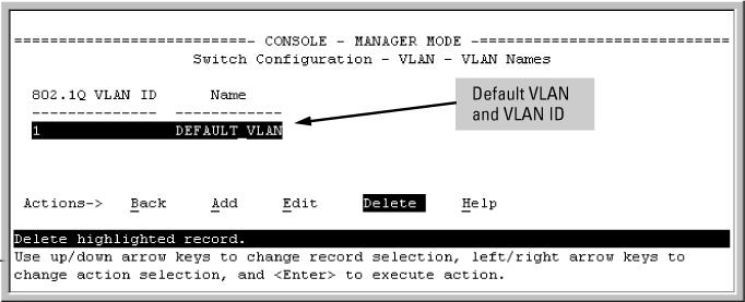 Procedure 1. From the Main Menu, select 2. Switch Configuration > 8. VLAN Menu > 2.
