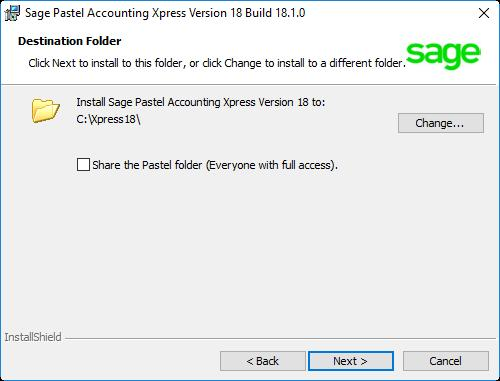 The Destination Folder screen will display: In this screen, you choose where to install Sage Pastel Xpress Version 18.