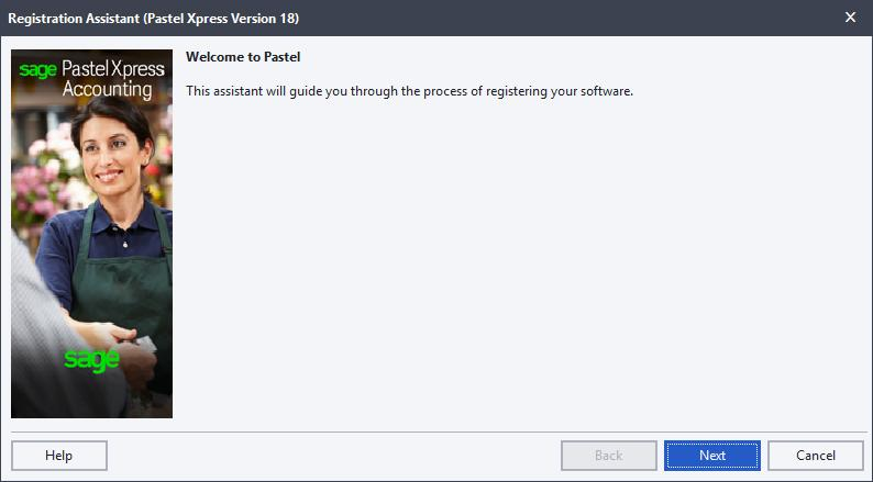 Step four: Registering your workstations The first time you start Sage Pastel Partner Version 18, the Welcome