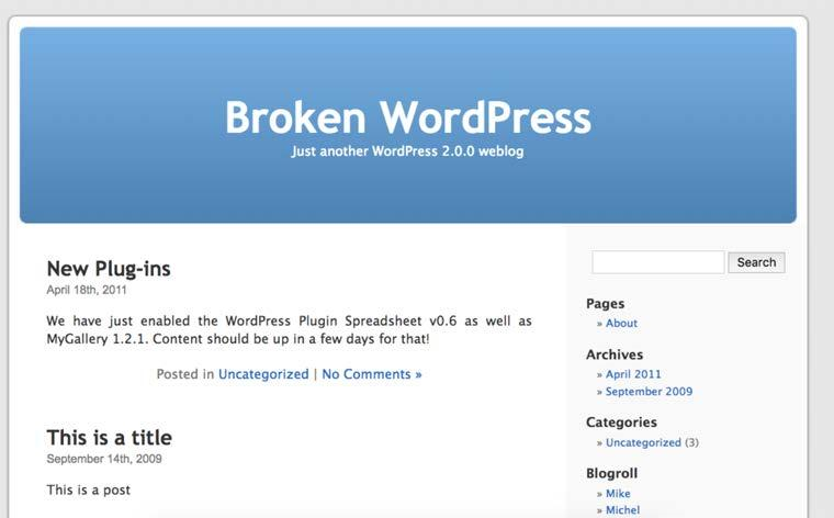 Wordpress OK, it appears that we are in