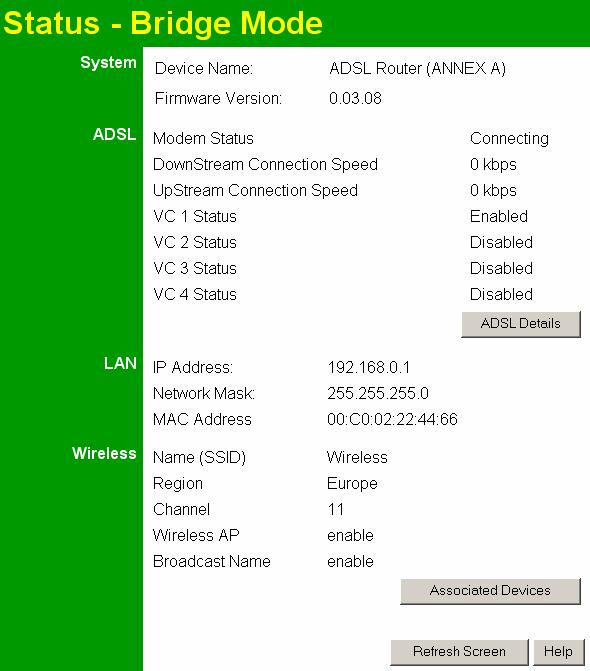 Wireless ADSL Router User Guide Status Screen In Modem mode, the Status screen looks like the example below.