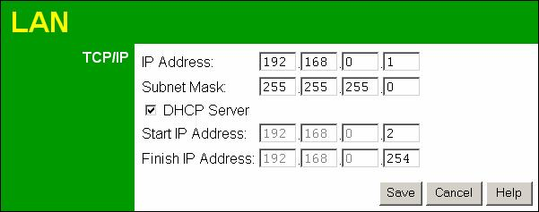 Wireless ADSL Router User Guide LAN Screen Use the LAN link on the main menu to reach the LAN screen. An example screen is shown below.