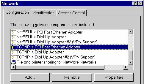 Wireless ADSL Router User Guide Checking TCP/IP Settings - Windows 9x/ME: 5. Select Control Panel - Network. You should see a screen like the following: Figure 14: Network Configuration 6.