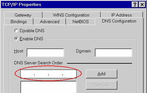Figure 16: Gateway Tab (Win 95/98) On the DNS Configuration tab, ensure Enable DNS is selected.