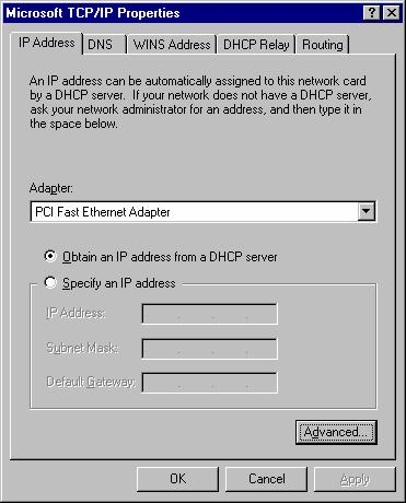 PC Configuration 3. Select the network card for your LAN. Figure 19: Windows NT4.0 - IP Address 4.