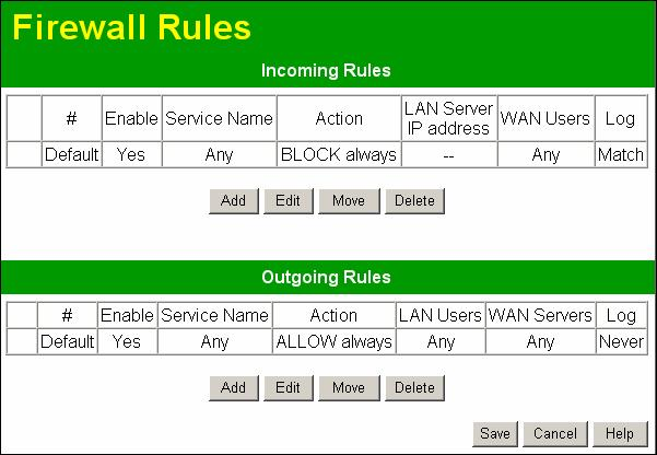 "Advanced Features Firewall Rules The Firewall Rules screen allows you to define ""Firewall Rules"" which can allow or prevent certain traffic. ""Traffic"" means incoming connection attempts, not packets."