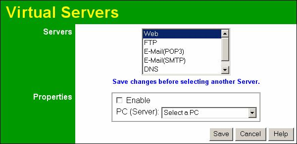 Wireless ADSL Router User Guide Data - Virtual Servers Screen Servers Servers Properties Enable PC (Server) Figure 57: Virtual Servers Screen This lists a number of common Server types.
