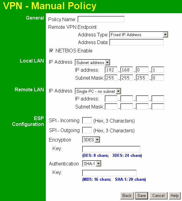 Wireless ADSL Router User Guide VPN- Manual Policy Screen This screen is displayed when you click the Add Manual Policy button on the VPN Policies screen, or when you edit an existing Manual Policy.