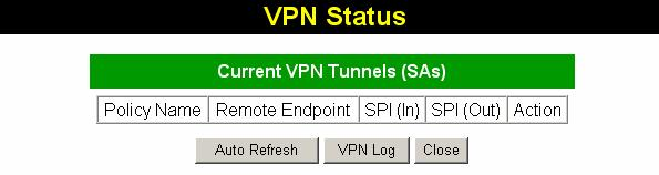 Wireless ADSL Router User Guide VPN Status Screen This screen is displayed when you click the VPN Log button on the VPN Policies screen, or on the Status screen.